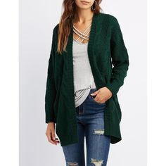 Charlotte Russe Cable Knit Oversized Cardigan ($20) ❤ liked on Polyvore featuring tops, cardigans, hunter green, long open cardigan, oversized cable knit cardigan, green cardigan, embellished tops and long open front cardigan