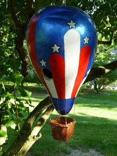 Hot Air Balloon Birdhouse Gourd Art -The All American  Hand Painted Stunning Designs by Sugarbear