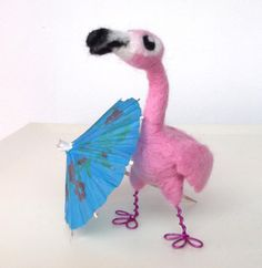 Cute little needle-felted flamingo