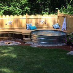 Rustic Decor In Backyard With Stock Tank Pool