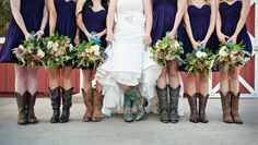 Bridesmaids in boots. Bridesmaid Dresses: Donna Morgan - donna-morgan.com