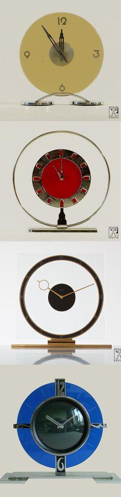 Art Deco clocks, 1930s. (Uploaded by Retroworx)