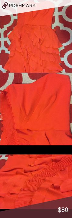 """Ali Ro Strapless Cascading Ruffles Dress Size 4. Very, very good used condition  (slight wear underarms). Side zip. Coral in color.  Shell: 100% silk Combo: Polyester Lining: Polyester Bust: 15"""" Length: 27"""" Anthropologie Dresses Strapless"""