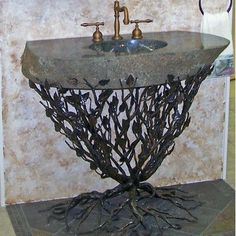 """Quiescence Organic Suites Embracious Aspen Forest Iron Pedestal Bathroom Sink Sink Finish: Oil Rubbed Bronze, Sink Size: 25""""-32"""""""