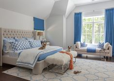 white and blue bedroom with linen tufted bed bedroom blueandwhite. beautiful ideas. Home Design Ideas