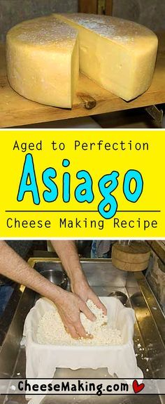 It's easy to make Asiago cheese right at home with this step by step cheese making recipe Fromage Vegan, Fromage Cheese, Asiago Cheese, Queso Cheese, Cheese Bread, Cheese Sauce, How To Make Cheese, Food To Make, Making Cheese At Home
