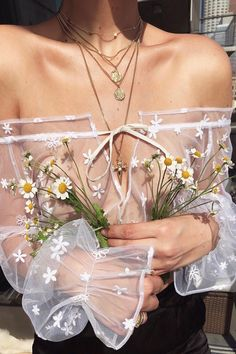 Delicate tulle sprinkled with dainty daisy embroidery Boho Mode, Mode Hippie, I Love Fashion, Denim Fashion, Fashion Design, Bohemian Fashion, Club Fashion, Fashion Pants, Womens Fashion
