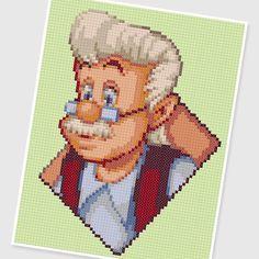 PDF Cross Stitch pattern : 0240.Geppetto ( Pinocchio )  by PIXcross