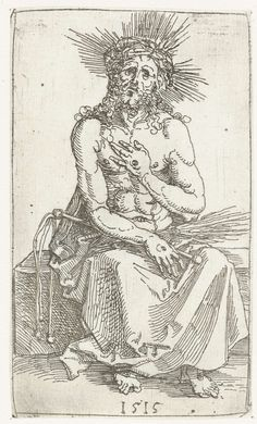 Christus als Man van Smarten, zittend, Albrecht Dürer, 1515
