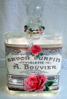 #7 Rose Collage Perfume Bottle Nightlight ( Night Light ) - Roses And Teacups Antique Perfume Bottles, Vintage Perfume Bottles, Bottles And Jars, Glass Bottles, Sent Bon, Beautiful Perfume, Altered Bottles, Bottle Lights, Teacups