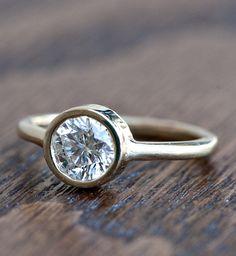 Wilson Diamonds: Custom Bezel Ring #WilsonDiamonds #bezelring #yellowgold