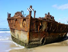 Shipwreck on Frasier Island, Queensland, Australia.