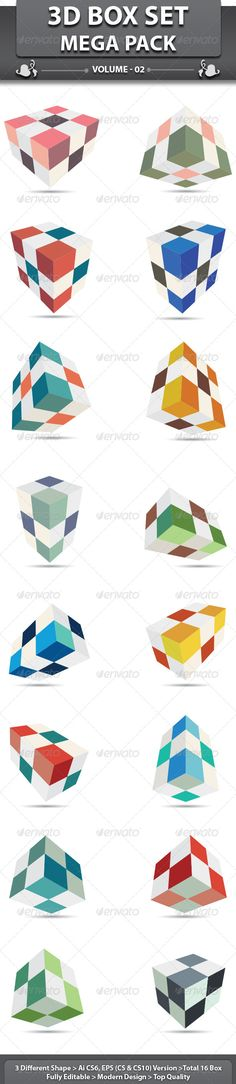 3D Box Set  #GraphicRiver It's Good Looking Simple Vector Shape. It's used Any kind's of design to related this idea.  Featured:16 BoxAI CS6 Document EPS CS Document  EPS CS10 Docume16 Different layout in 3 file  CMYK – 100 % Vector (Re-sizable)    Also Available 3D Cube Set : graphicriver /item/3d-cube-set/2401098  Created: