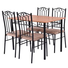 5 PC Dining Set Wood Metal Table and 4 Chairs Kitchen Breakfast Furniture