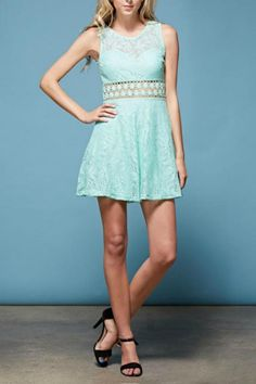 Lace crocheted mini-dress with cut-out waist. Beautiful light turquoise andmint-green color. Slip lining inside skirt and top front is also lined. Side zipper. Flare skirt.   Turquoise-N-Crocheted Dress by CatD. Clothing - Dresses - Casual Fayetteville, Arkansas