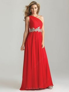 A-line One Shoulder Chiffon Floor-length Sleeveless Rhinestone Prom Dresses $235.19 Prom Dress