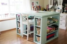 For the non builders, you could easily make this with two narrow book shelf cubbies and two larger ones, attach them as shown, mabey add some wood behind the big ones, so your goodies didn't fall out, and plop an old door or mabey some old planks on top........D.
