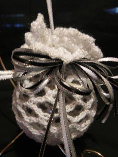 White Crochet Christmas Ornament by LynnsCrookedHook on Etsy