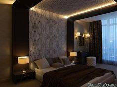 Темная спальня с подсветкой в альбоме Дизайн интерьера спальни: