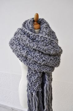 Unisex Super Scarf - Men's Blanket Scarf, Grey Knit Scarf, Super Chunky…