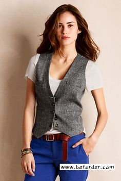 Women's Wool Donegal Vest from Lands' End Canvas