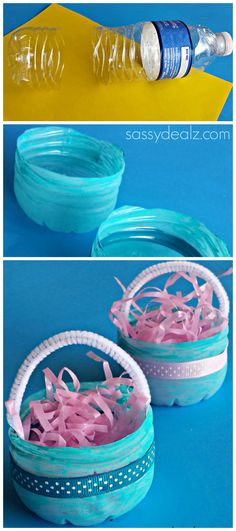 Water Bottle Easter Basket Craft for Kids #DIY | http://www.sassydealz.com/2014/03/water-bottle-easter-basket-craft-kids.html