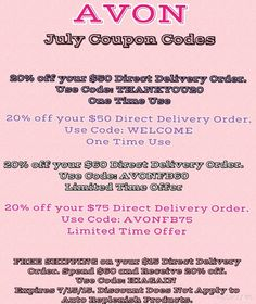 Coupon Codes for July - Take advantage at my eStore www.dianebmitchellonline.com #Avon #coupon #sale #discount #freeshipping