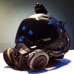 Walterrific Motorcycle Helmet & parts. Futuristic design, gas mask.