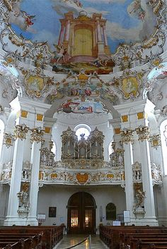 Wieskirche The Pilgrimage Church of Wies is an oval rococo church, designed in the late 1740s by Dominikus Zimmermann, who for the last eleven years of his life lived nearby. It is located in the foothills of the Alps, in the municipality of Steingaden in the Weilheim-Schongau district, Bavaria, Germany.