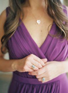 Chiffon Bridesmaid Dress in Soft Plum | Elisa Bricker Photography | http://heyweddinglady.com/regal-purple-gold-champagne-wedding-palette/
