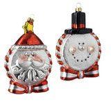 Santa and Snowman Glass Disc Ornaments -   PerfectlyFestive