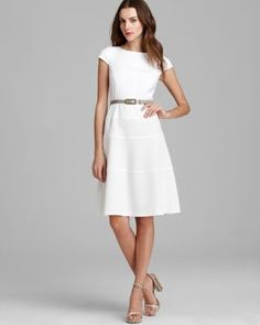 {Anne Klein Swing Dress } beautiful and simple, although white is a dangerous color for me