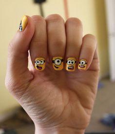 Despicible Me minion nails art