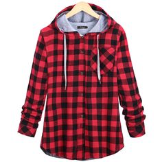 Aliexpress.com : Buy ACEMIRIZ Women Red Plaid Hooded Shirts Cotton Autumn Winter Long Sleeve Blosue Casual Button Shirt AWT0018 from Reliable womens plaid hoodie suppliers on ACEMIRIZ WORLD Store