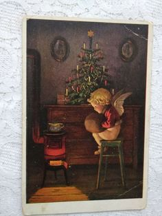 Cute old artistic Christmas postcard, little angel, Xmas tree, cca. 1920s' #Christmas German Stamps, Halloween Series, German Christmas, Xmas Tree, Vintage Postcards, 1920s, Angels, Christmas Decorations, Artist