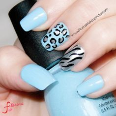 Blue and Animal Print nails. Summer Nail designs ♥  #nails #nailart #naildesigns #animalprint #babyblue #leopard #nailpolish