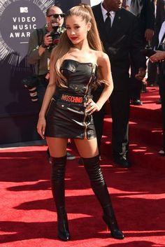 Ariana Grande Moschino leather skirt thigh boots