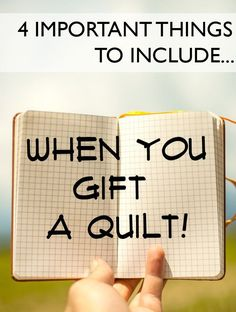 Don't forget these 4 things when you gift a quilt! They're easy and add just a little extra special-ness! Good for many home crafted items.I See Stars Quilting ⋆ A Modern Guide to Quilting: Tips, Tricks, Patterns + How-toske photos of the quilt bef Quilting For Beginners, Sewing Projects For Beginners, Quilting Tips, Quilting Tutorials, Sewing Tutorials, Baby Quilt Tutorials, Quilting Quotes, Beginner Quilting, Quilting Board