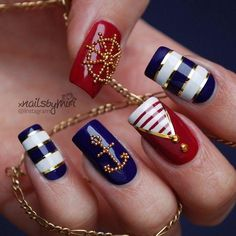 Anchor Nails - Nautical Nail Art Designs - Striped Nails - Nail art with Anchors - Handwheel Nails - Nautical Printed nails More Nail Art Videos: - Striped N. Anchor Nail Designs, Nautical Nail Designs, Anchor Nail Art, Nautical Nail Art, Nail Art Designs, Nautical Theme, Stripe Nail Designs, Fingernail Designs, Gold Designs