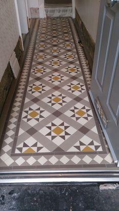 Victorian tiles in hallway - carron pattern Interior, Tiles, Victorian Hallway, Downstairs Loo, Home Decor, Contemporary Rug, Victorian Tiles, Hallway, Victorian