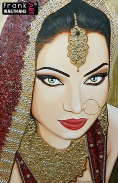 "Indian bride painting 'Deepest Inner' (59.1"" x 39.4""). Original hand made portrait. Fabulous & the most unique mixed-media work of art by Frank Wagtmans!"