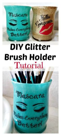 Step by Step DIY glitter brush holder! An easy and frugal gift or cute way to add character to your bathroom! crafts to sell Makeup Glitter Brush Holder DIY Tutorial ~ So Easy and Fun! - Leap of Faith Crafting Diy Makeup, Makeup Geek, Makeup Ideas, Makeup Tips, Teen Makeup, Glitter Crafts, Glitter Projects, Makeup Brush Holders, Do It Yourself Crafts