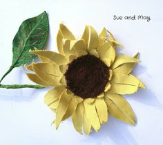 Check out this item in my Etsy shop https://www.etsy.com/uk/listing/524032363/fabric-flowers-1-yellow-sunflower
