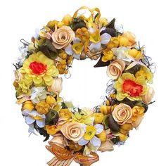 Tavaszi koszorú sárga selyemvirágokkal Floral Wreath, Decor, Floral Crown, Decoration, Decorating, Flower Crowns, Flower Band, Deco, Garland