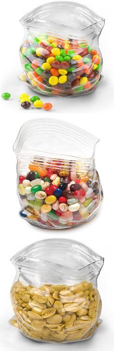 Glass bowl that looks like a plastic bag.
