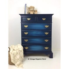 Vintage Six-drawer Dresser painted in vibrant blues would be a conversation piece in any room. Furniture, Bedroom Arrangement, Trendy Furniture, Linen Storage, Small Dresser, Six Drawer Dresser, Furniture Arrangement, Vintage Dressers, Metal Furniture
