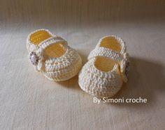 Sapatilha de crochê para bebe