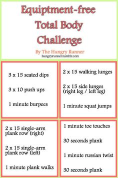 Equipment-free Total Body Challenge Workout!!