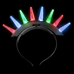 LIght-Up Rainbow Spike Mohawk Headband ** Click image to review more details.