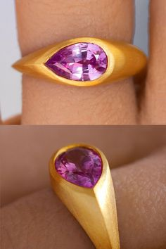 This regal sapphire comes from my favorite precision master gem cutter. Containing just a hint of purple, it's natural hue adds an element of cultured sophistication compared to a playful bubble gum pink. I loved the idea of creating a band of substantial 22k recycled gold that flowed around the gem like a modern river, following the elongated proportions of the pear-shaped sapphire.